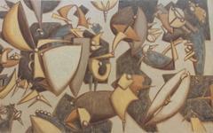 Oil on Burlap Canvas Titled: Levitando