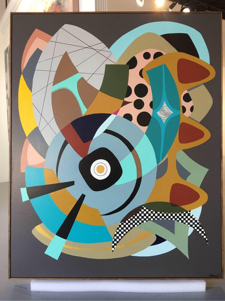 Painting on Canvas Titled: Wonderland  - Black Abstract Painting by Amauri Torezan