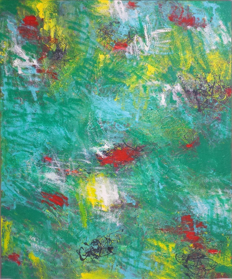 """Mirtha Moreno Abstract Painting - Large Oil Painting on Canvas Titled: """"Emerald City"""""""