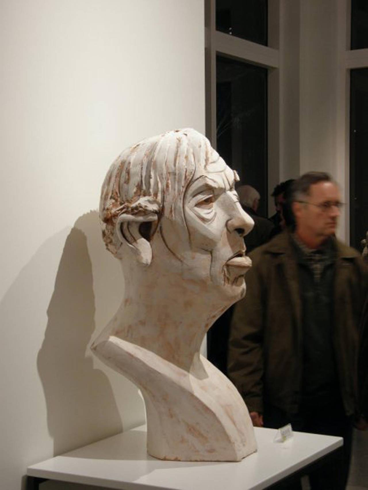 Terracotta Sculpture by renown sculptor Chris Riccardo from a series he did based on mug shots will ship with custom crate sizes are approximate Terracotta with under glazes  EDUCATION: 1990 - BFA- College of Fine Arts, Boston University, Boston,