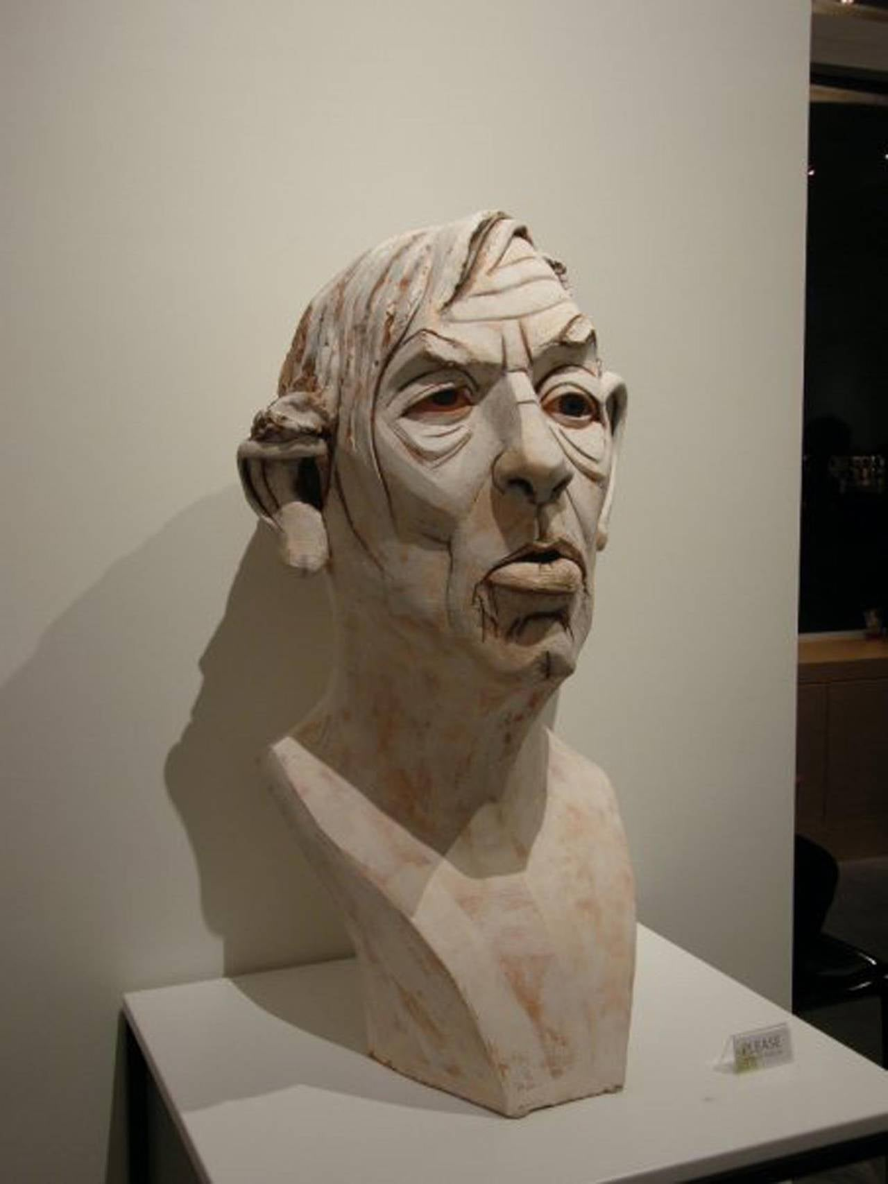 Large Terracotta Sculpture Titled: Albert - Beige Figurative Sculpture by Chris Riccardo
