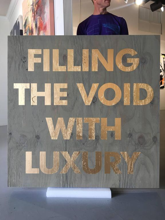 Acrylic on Reclaimed Wood Titled: Filling the Void -Blue For Sale 5