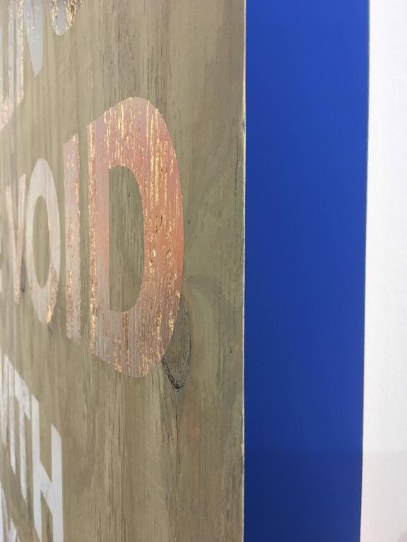 Acrylic on Reclaimed Wood Titled: Filling the Void -Blue For Sale 2