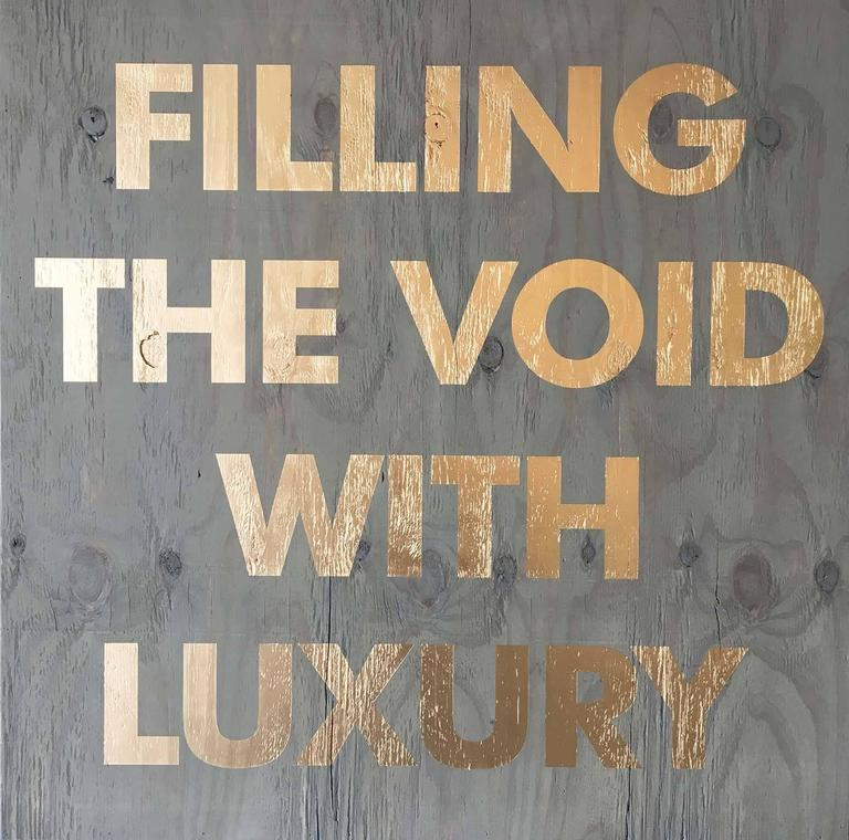 Acrylic on Reclaimed Wood Titled: Filling the Void -Blue For Sale 6