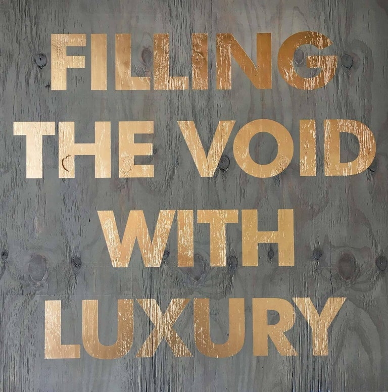 Acrylic on Reclaimed Wood Titled: Filling the Void -Blue - Mixed Media Art by William Finlayson