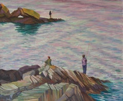 Fishing by the Sea - Mid 20th Century Impressionist Oil by William Henry Innes
