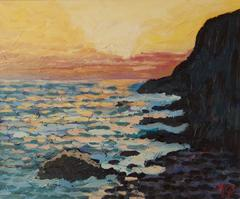 Daybreak On The Ocean - Late 20th Century Impressionist Acrylic Piece by Quirke