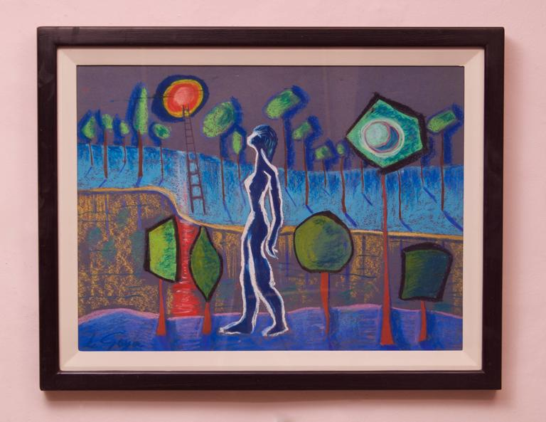 Abstract Girl Dreaming - Mid 20th Century Mixed Media by George De Goya For Sale 1