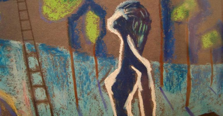 Abstract Girl Dreaming - Mid 20th Century Mixed Media by George De Goya For Sale 2