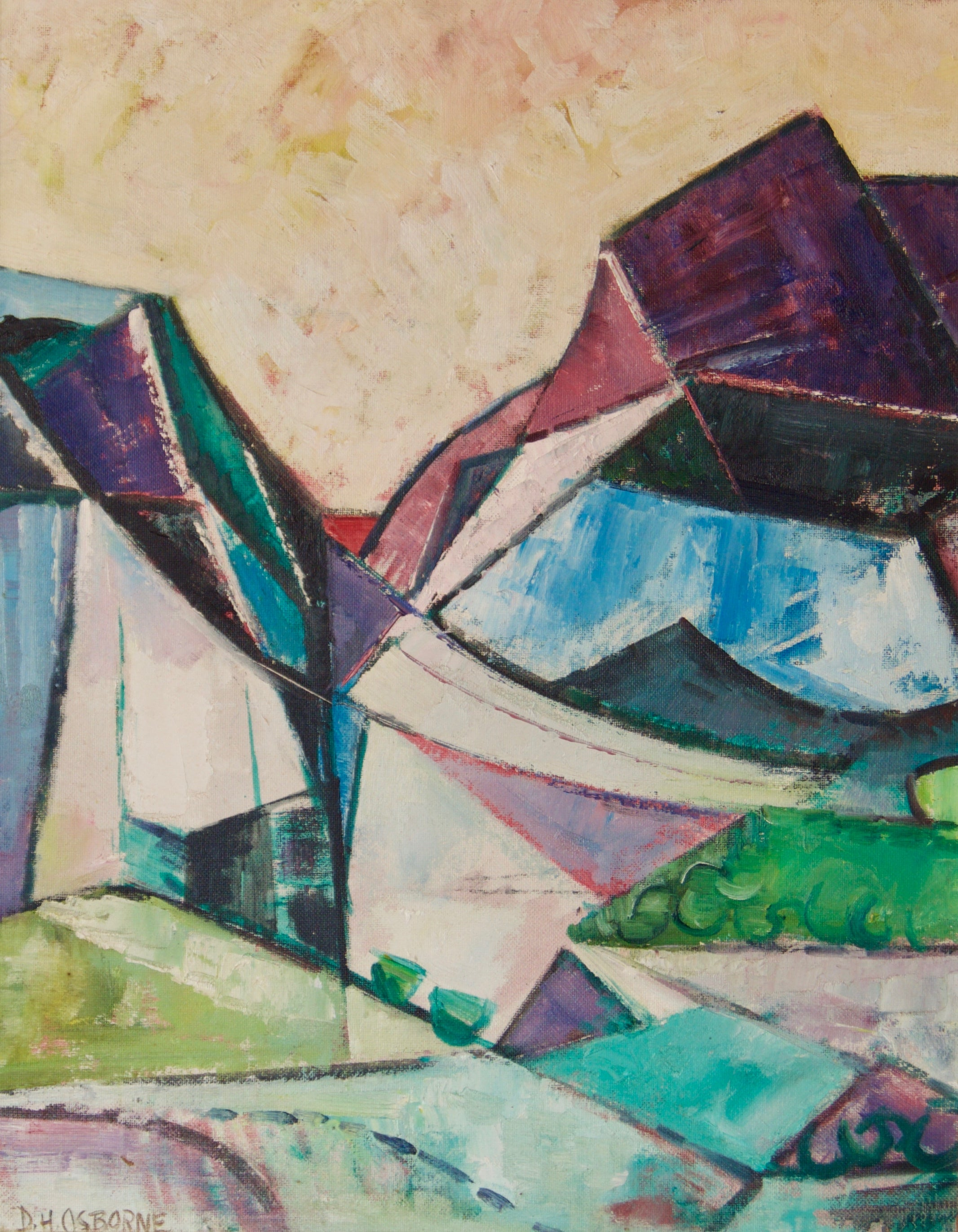 Abstract Landscape - Mid 20th Century Cubist Oil Piece - Dennis Henry Osborne