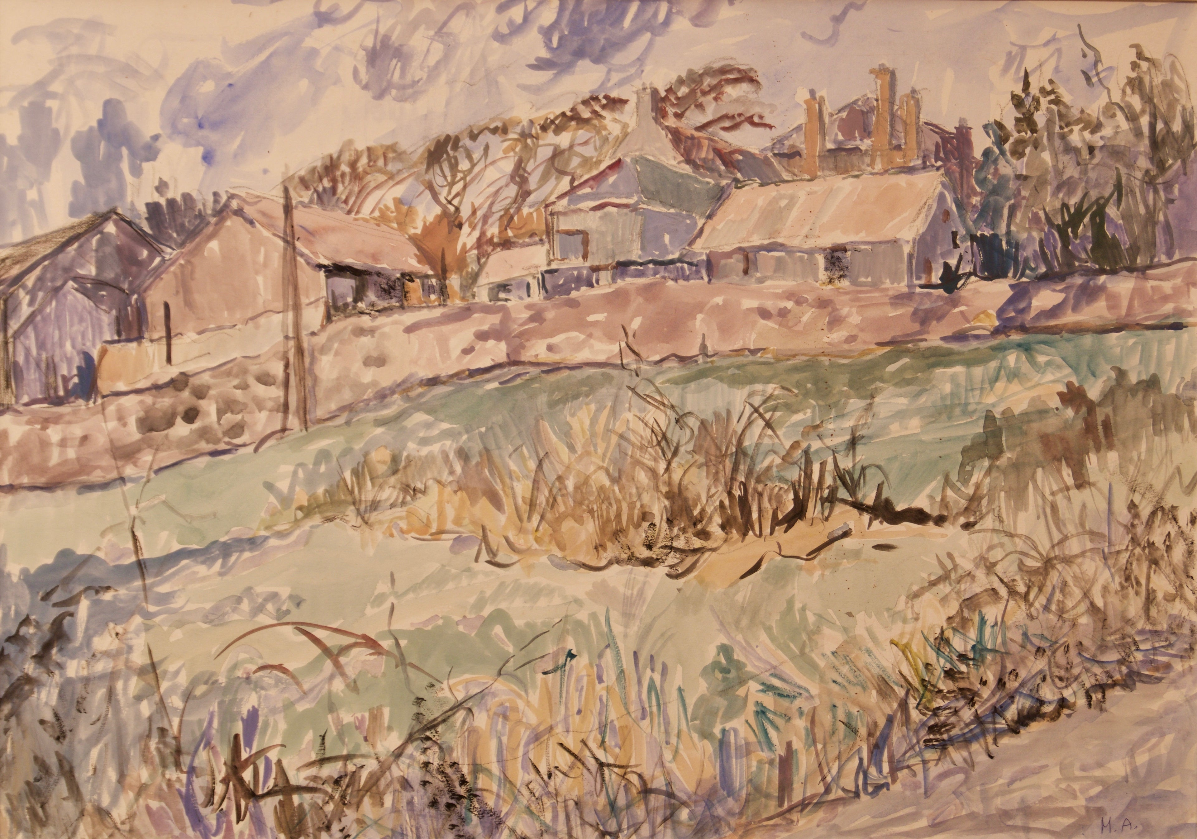Village in Cornwall - Late 20th Century Watercolour Countryside by Muriel Archer
