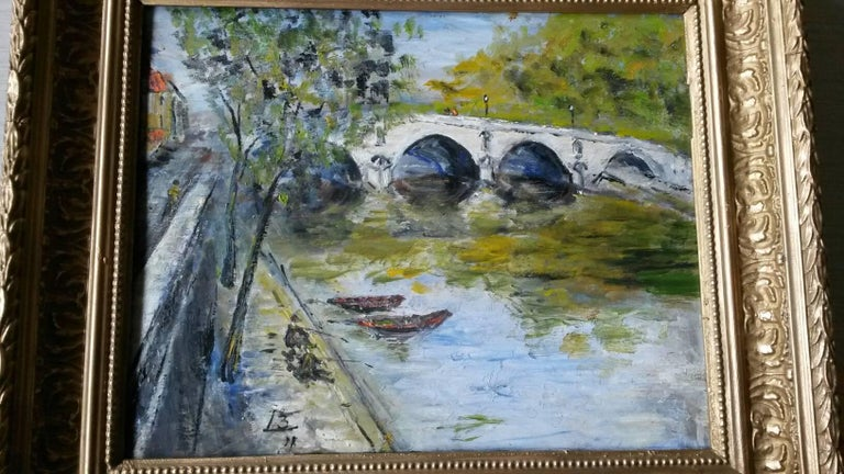 French Post Impressionist Bord de Seine Landscape Painting 2