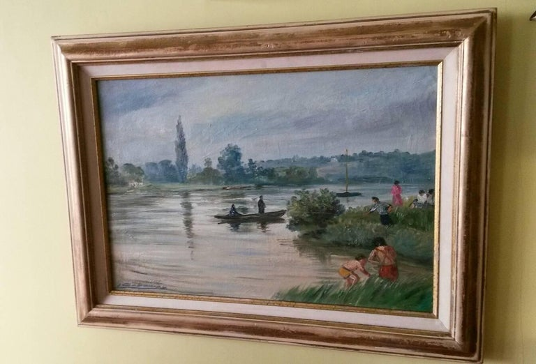 French Post Impressionist Seine River Landscape Painting by Gaboriau For Sale 2