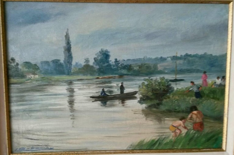 French Post Impressionist Seine River Landscape Painting by Gaboriau For Sale 3