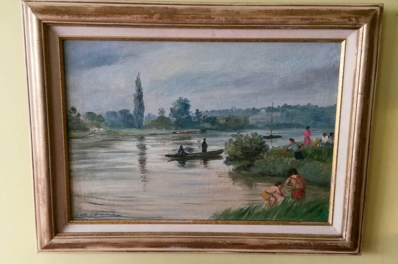 French Post Impressionist Seine River Landscape Painting by Gaboriau