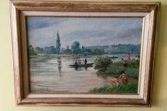 French Post Impressionist Seine River Landscape Painting by Gaboriau