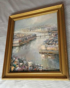 French Rice Gauche oil  Painting by Lucien Delarue,