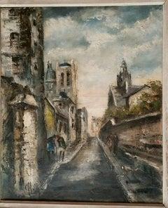 Expressionist Rue  Mouffetard  Landscape Oil by Co Loran
