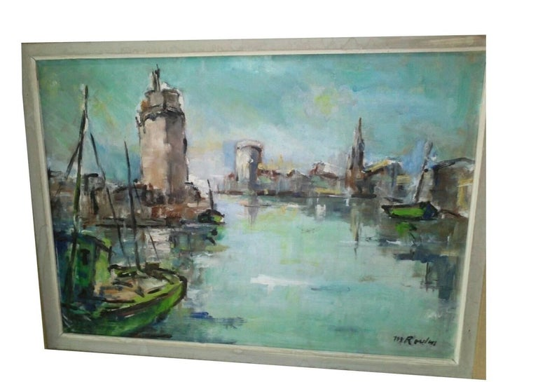 French Post Impressionist Marina  Painting by Rossini - Gray Landscape Painting by Unknown