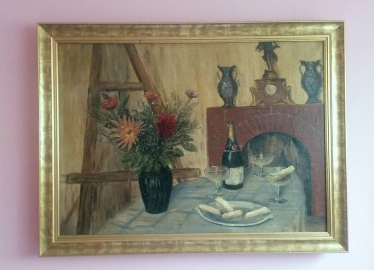 Unknown Still-Life Painting - French Post Impressionist Still Life by G.Lesmele, Paris 1930's