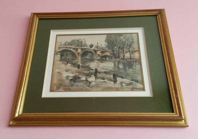 Fernand Herbo Landscape Painting - Post Impressionist Pont  Neuf watercolor landscape