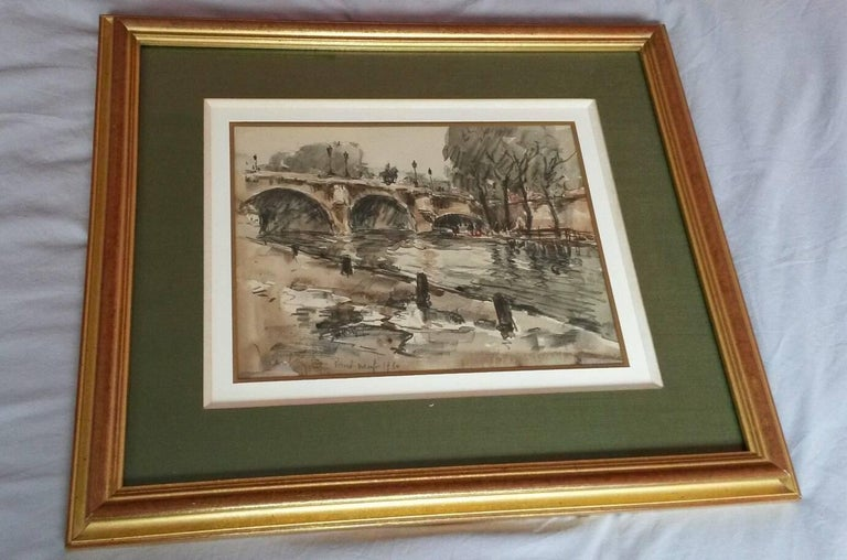 Post Impressionist Pont  Neuf watercolor landscape  - Painting by Fernand Herbo