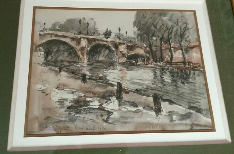 Post Impressionist Pont  Neuf watercolor landscape  - Post-Impressionist Painting by Fernand Herbo