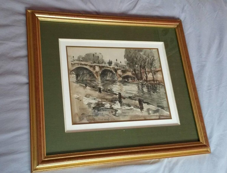 Post Impressionist Beautiful watercolor representing the Pont Neuf in Paris by Fernand Herbo. The work is titled and dated 1930 and signed Fernand Herbo at the lower left. The watercolor is in perfect condition, under glass, nicely