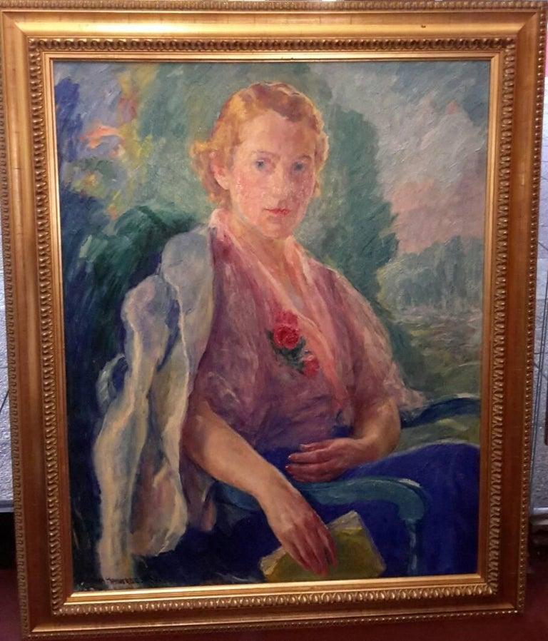 William Malherbe Portrait Painting - Portrait of Mademoiselle Malherbe