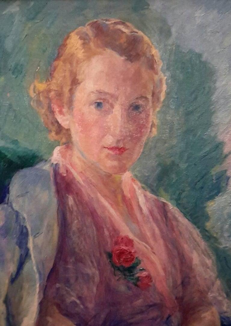 Portrait of Mademoiselle Malherbe - Painting by William Malherbe
