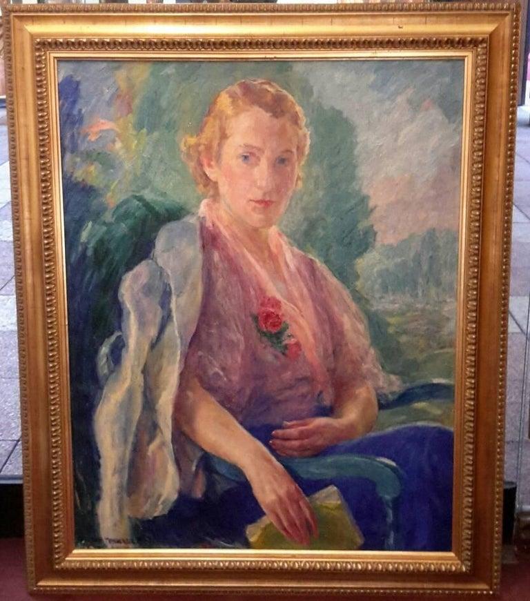 Portrait of Mademoiselle Malherbe - Black Portrait Painting by William Malherbe