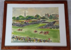 """Beautiful 1930's French Watercolor """" Hippodrome d'Auteuil """""""