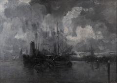 Lucien Frank - The Dordrecht harbour at night