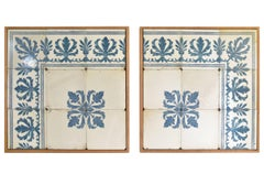 Antique Blue and White Portuguese Tiles Framed in Modern Wood Frames