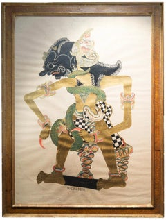 Indonesian Painting on Paper in Vintage Burl Wood Frame, Early 20th Century