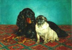 A Gordan Setter and a Pug
