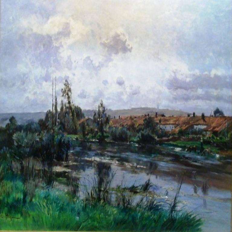 Edmond Marie Petitjean Landscape Painting - Le village au bord de la riviere