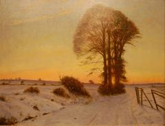 A Winter Landscape at Dusk