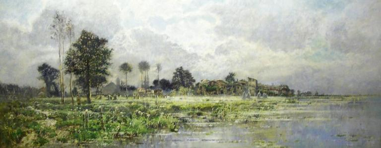 Karl Heffner Landscape Painting - A landscape in spring with a village on the water