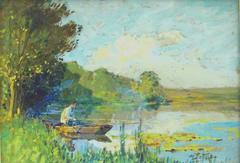 Pecheur en Barque au Bord de la Riviere