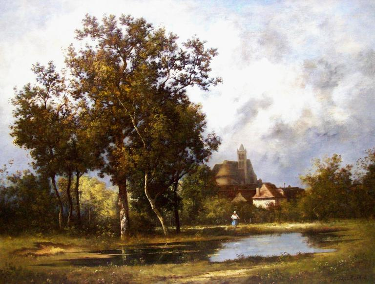 Leon Richet Landscape Painting - At the pond