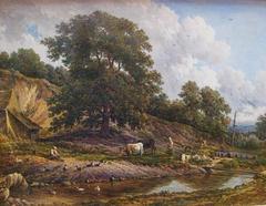 Fermiers et troupeau pres d'une riviere