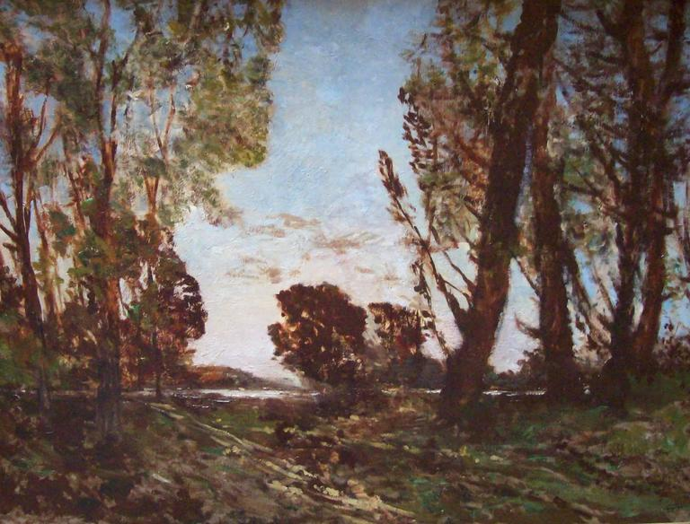 Henri Joseph Harpignies Landscape Painting - L'Etang dans la foret de Barbizon
