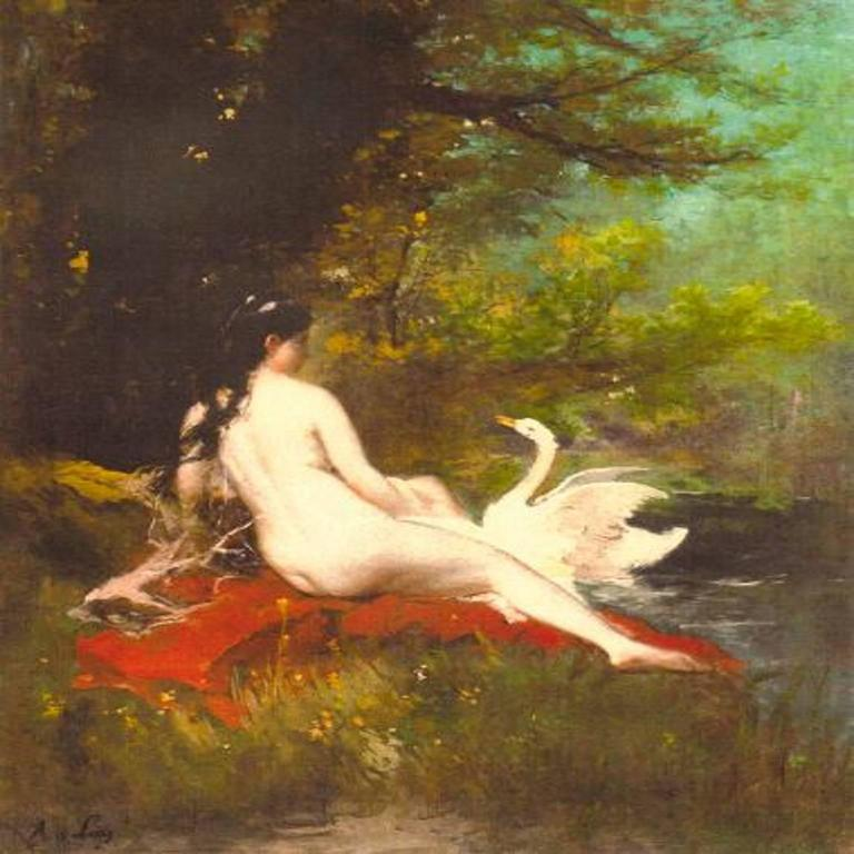 Alfred Firmin Loisy Still-Life Painting - Leda and the swan