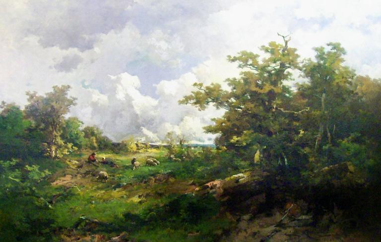 Emile Henri Keymeulen Landscape Painting - Paysage Anime, 1880