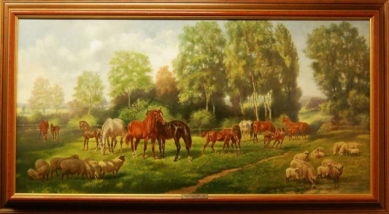 Helmert Richard Van Der Flier Animal Painting - Horses and Sheep