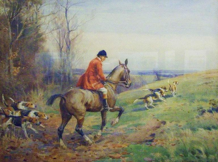 John Sanderson-Wells Animal Painting - Getting Steadily Away