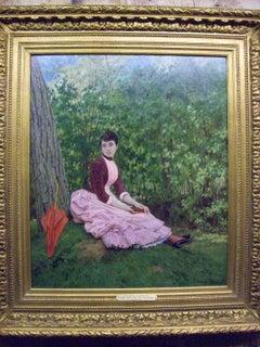 Jeune fille lisant au pied de grand arbre