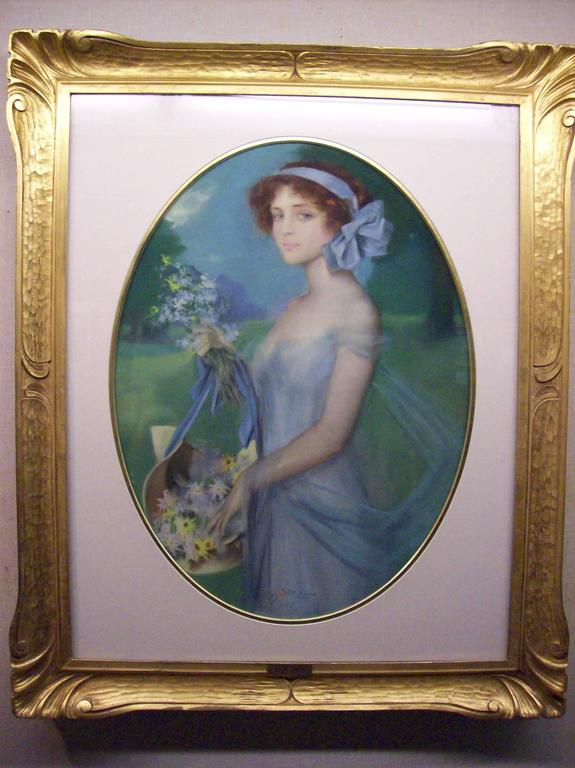 Penrhyn Stanlaws Portrait Painting - Young woman with flowers
