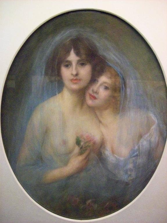 Pierre Carrier-Belleuse Nude Painting - Portraits of Two Young Girls